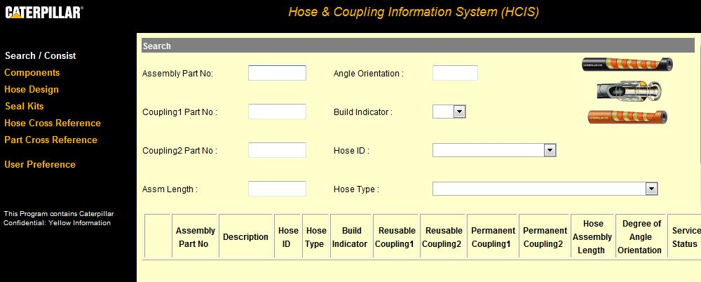 caterpillar hcis Hose & Coupling Information System