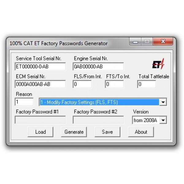 100% CAT Caterpillar ET Factory Password Key Generator